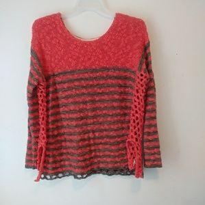 Free People Orange Grey Striped Sweater Sz L